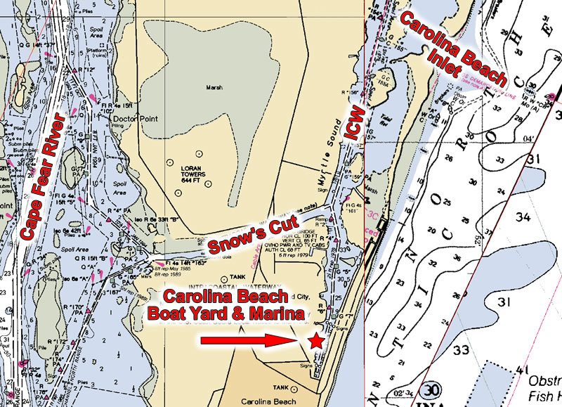 Carolina Beach NC Waterway Map